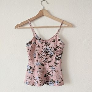 American Eagle Pink Floral Peplum Lace Tank Top XS
